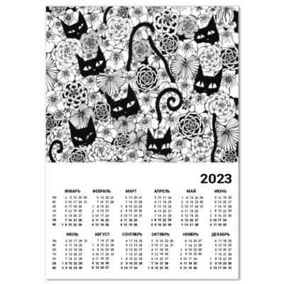 Календарь Кошки в цветах