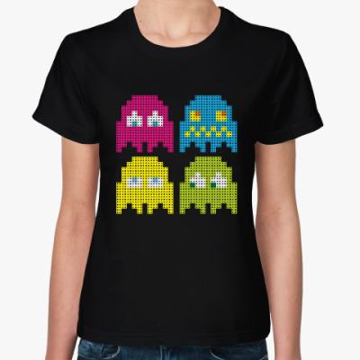 Женская футболка Pacman игра пиксели герои