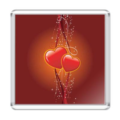 Магнит Два сердечка