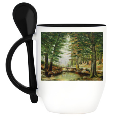 Кружка с ложкой В лесу