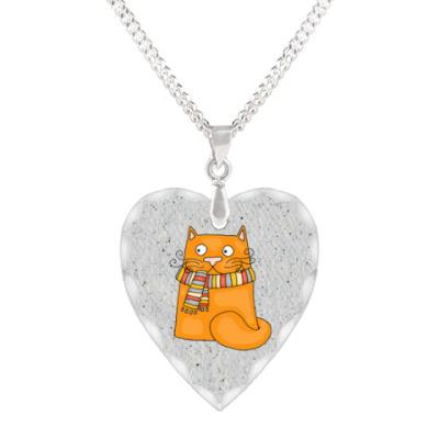 Кулон 'сердце' Счастливый котик