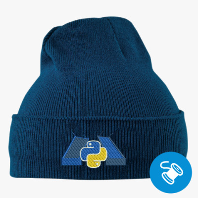 Вязаная шапка с подворотом, темно-синяя (вышивка) Вязаная шапка с подворотом, те