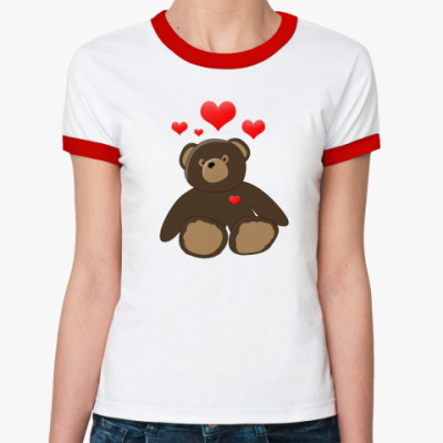Женская футболка Ringer-T Мишка  жен (б/к)