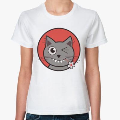 Классическая футболка Кот с цветком