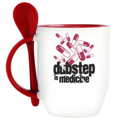 Кружка с ложкой Дабстеп медицина