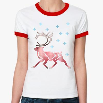 Женская футболка Ringer-T Олень северный