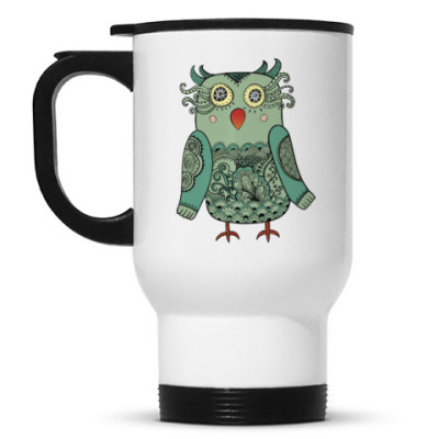 Кружка-термос Зеленая лесная совушка