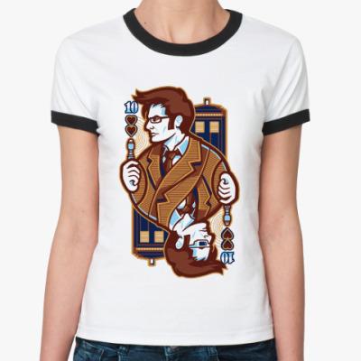 Женская футболка Ringer-T Десятый Доктор