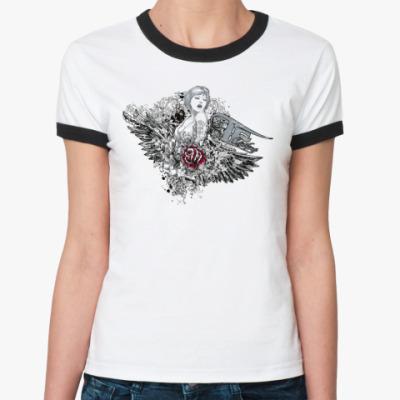 Женская футболка Ringer-T woman and flower