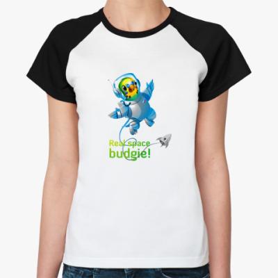 Женская футболка реглан Волнистый космонавт