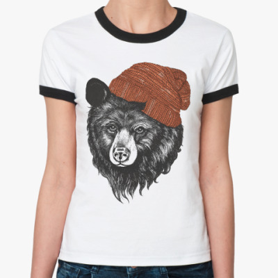 Женская футболка Ringer-T Медведь в шапке