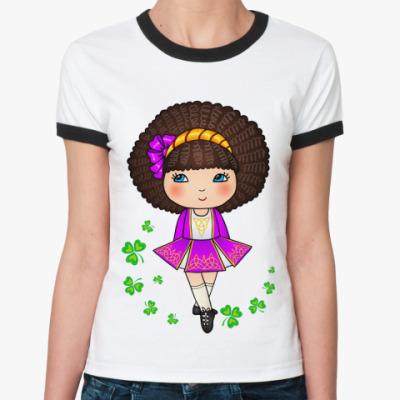 Женская футболка Ringer-T Ирландская девочка