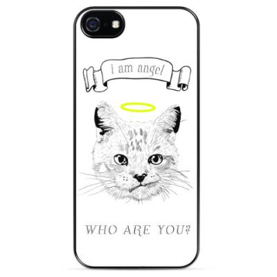 Чехол для iPhone Кот ангел с нимбом над головой