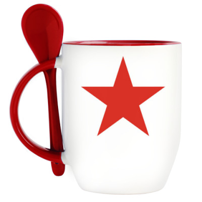 Кружка с ложкой Красная звезда