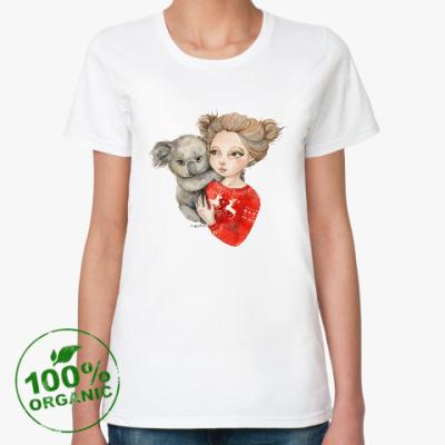 Женская футболка из органик-хлопка Девочка с коалой