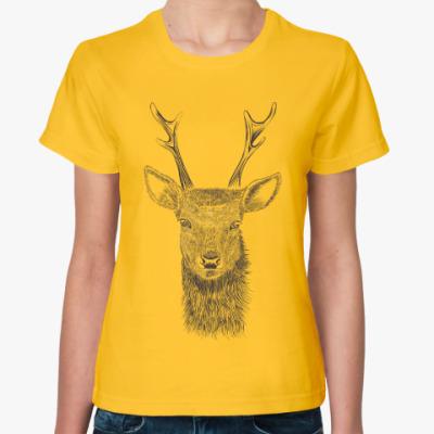 Женская футболка Олень лось deer