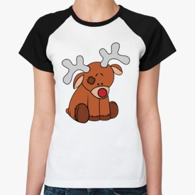 Женская футболка реглан Новогодний олень Teddy