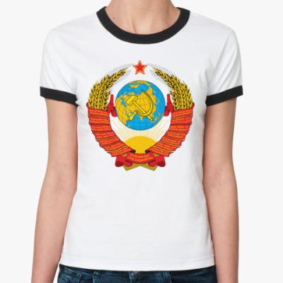 Женская футболка Ringer-T  Герб СССР