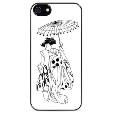 Чехол для iPhone японская гейша с зонтиком