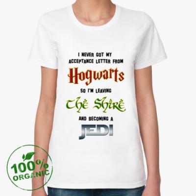 Женская футболка из органик-хлопка Хогвартс/Шир/Джедай