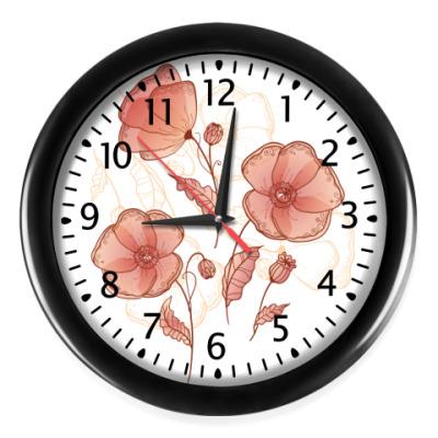 Настенные часы Красные цветы