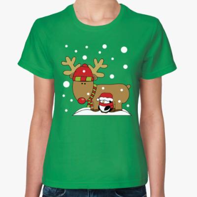 Женская футболка Новогодний олень и пингвин