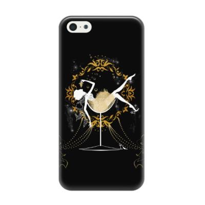 Чехол для iPhone 5/5s Силуэт шикарной девушки в бокале шампанского