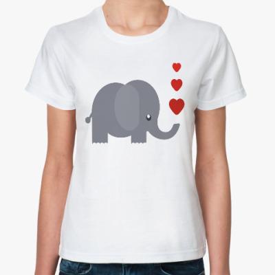 Классическая футболка Милый слоник