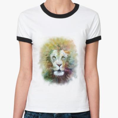 Женская футболка Ringer-T Лев, акварель