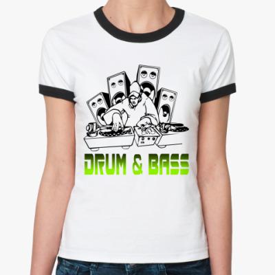 Женская футболка Ringer-T Drum & Bass