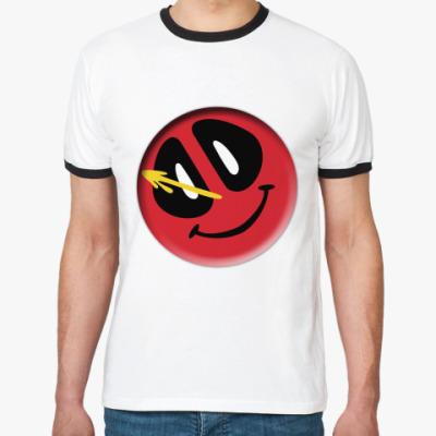 Футболка Ringer-T Deadpool значок Комедианта