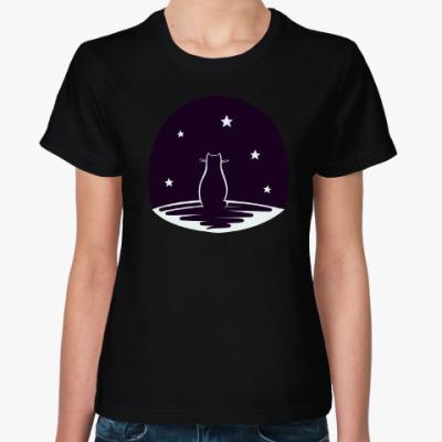Женская футболка Кот и звезды