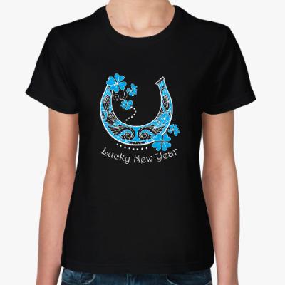 Женская футболка Подкова и клевер