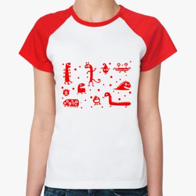 Женская футболка реглан Динозаврики