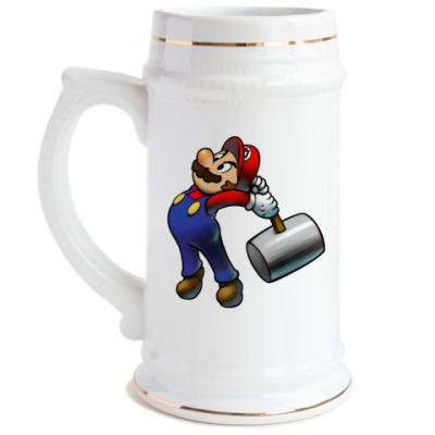 Пивная кружка Марио бъет тебя по пальцам