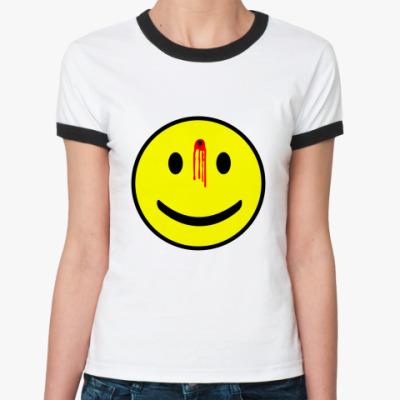 Женская футболка Ringer-T Простреленный смаил