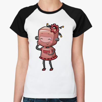 Женская футболка реглан Робот девушка