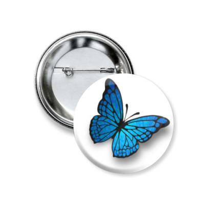 Значок 37мм бабочка