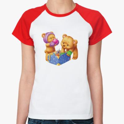 Женская футболка реглан С новым плюшем!