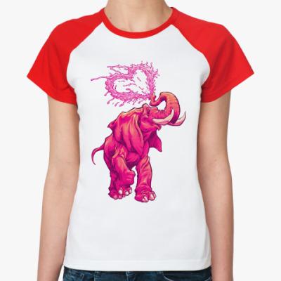 Женская футболка реглан Счастливый слоник