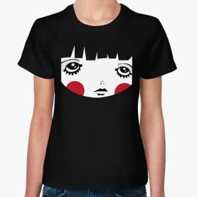 Женская футболка Девочка с красными щеками
