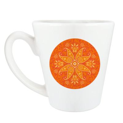 Чашка Латте Оранжевый узор в круге