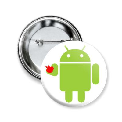Значок 50мм Андроид с яблоком