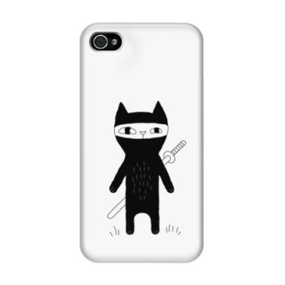 Чехол для iPhone 4/4s Кот-ниндзя