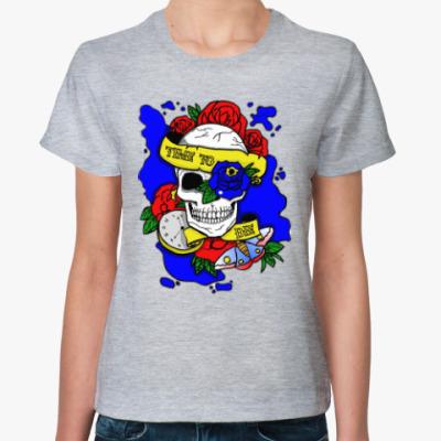 Женская футболка Череп Time to Die