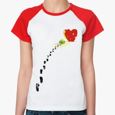 Женская футболка реглан Подарок для сердца