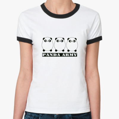 Женская футболка Ringer-T Panda army