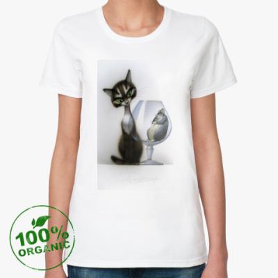 Женская футболка из органик-хлопка Котэ и мышь