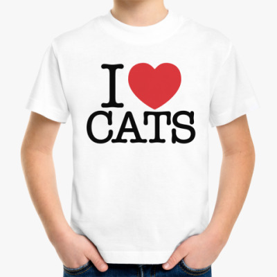 Детская футболка i love cats!