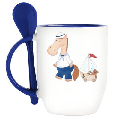 Кружка с ложкой 'Лошадка морячок'